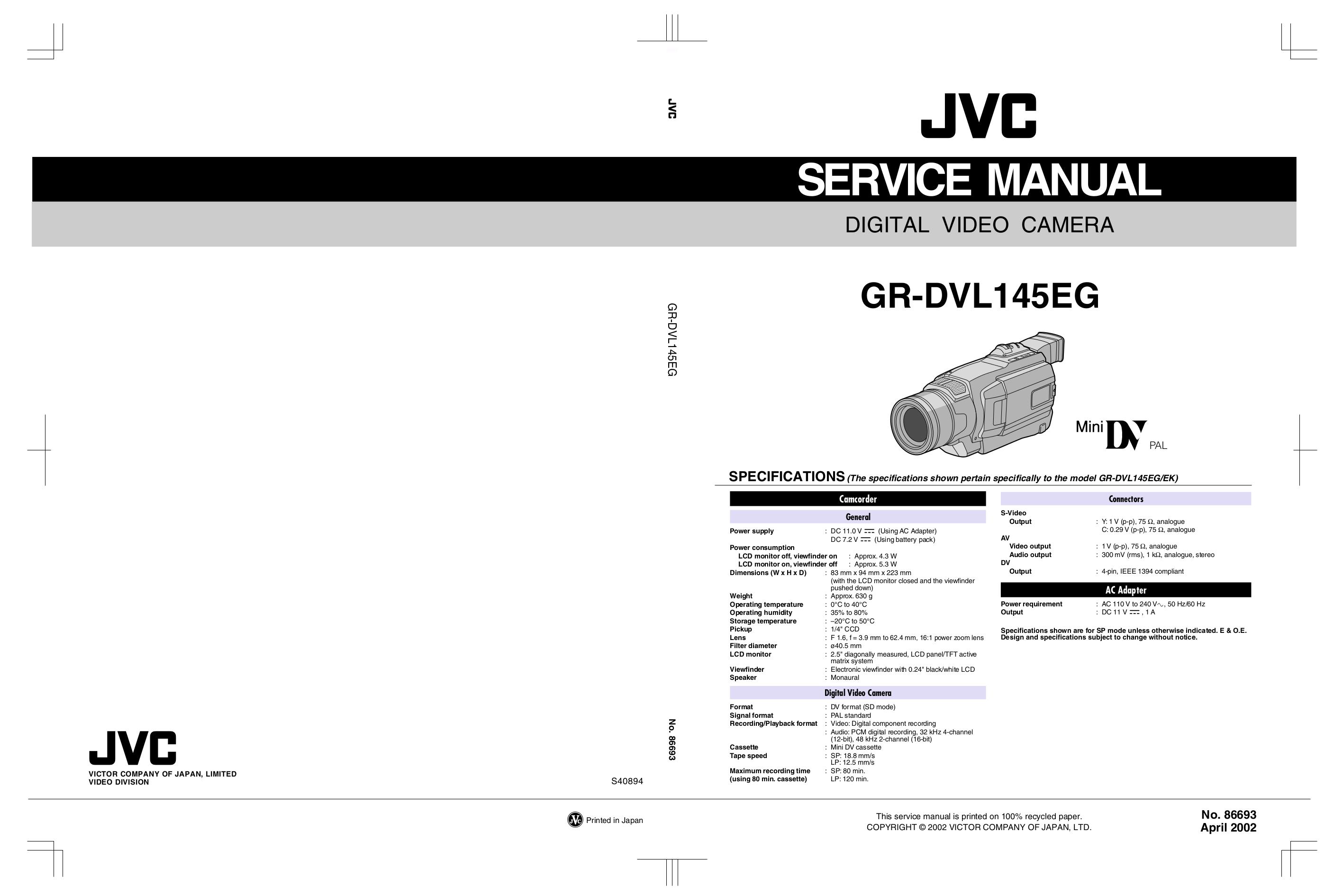 pdf for JVC Camcorders GR-DVL145EG manual