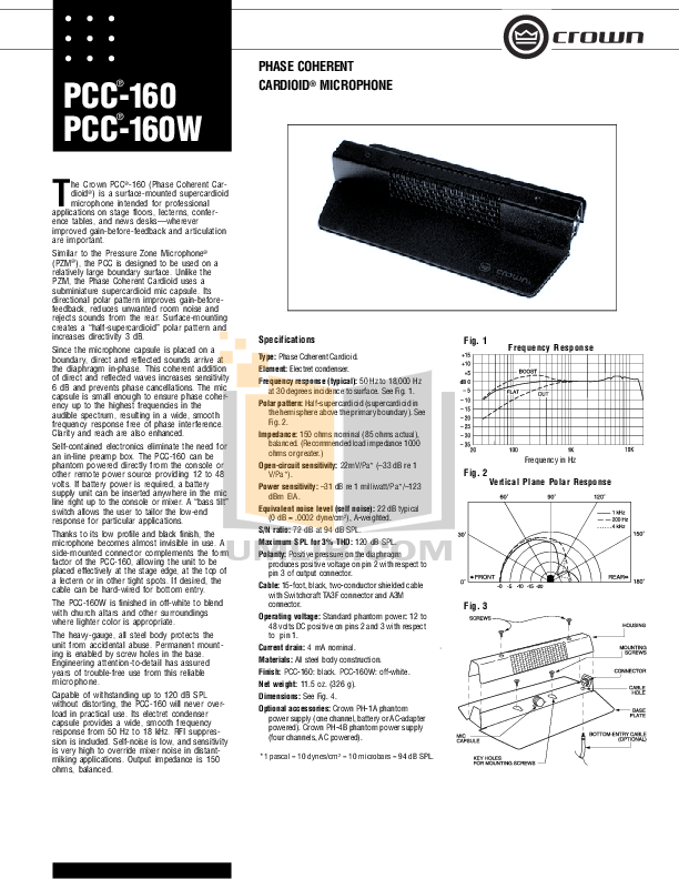 pdf for Crown Other PZM-30F Microphones manual