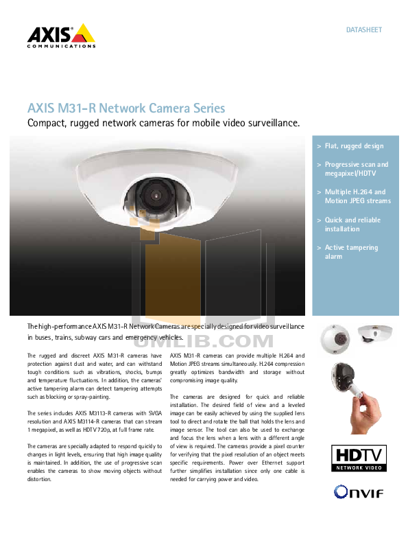 pdf for Axis Security Camera M3113-R manual