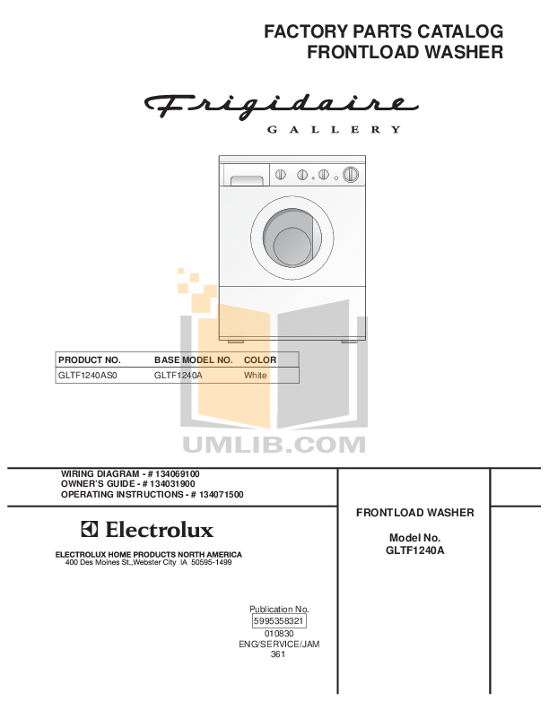 pdf for Frigidaire Washer GLTF1240AS0 manual