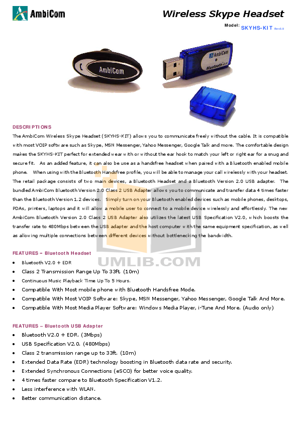 pdf for AmbiCom Other BT2-USB Class I Bluetooth Adapters manual