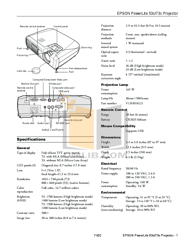 pdf for Epson Projector PowerLite 73c manual