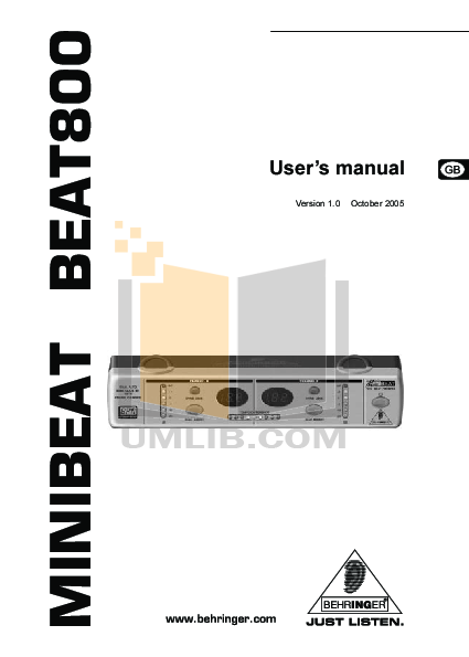 pdf for Behringer Amp BEAT800 manual