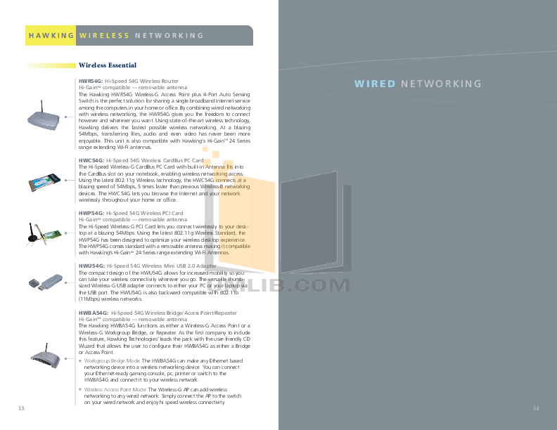 Hawking Other UH214 Network Hub pdf page preview