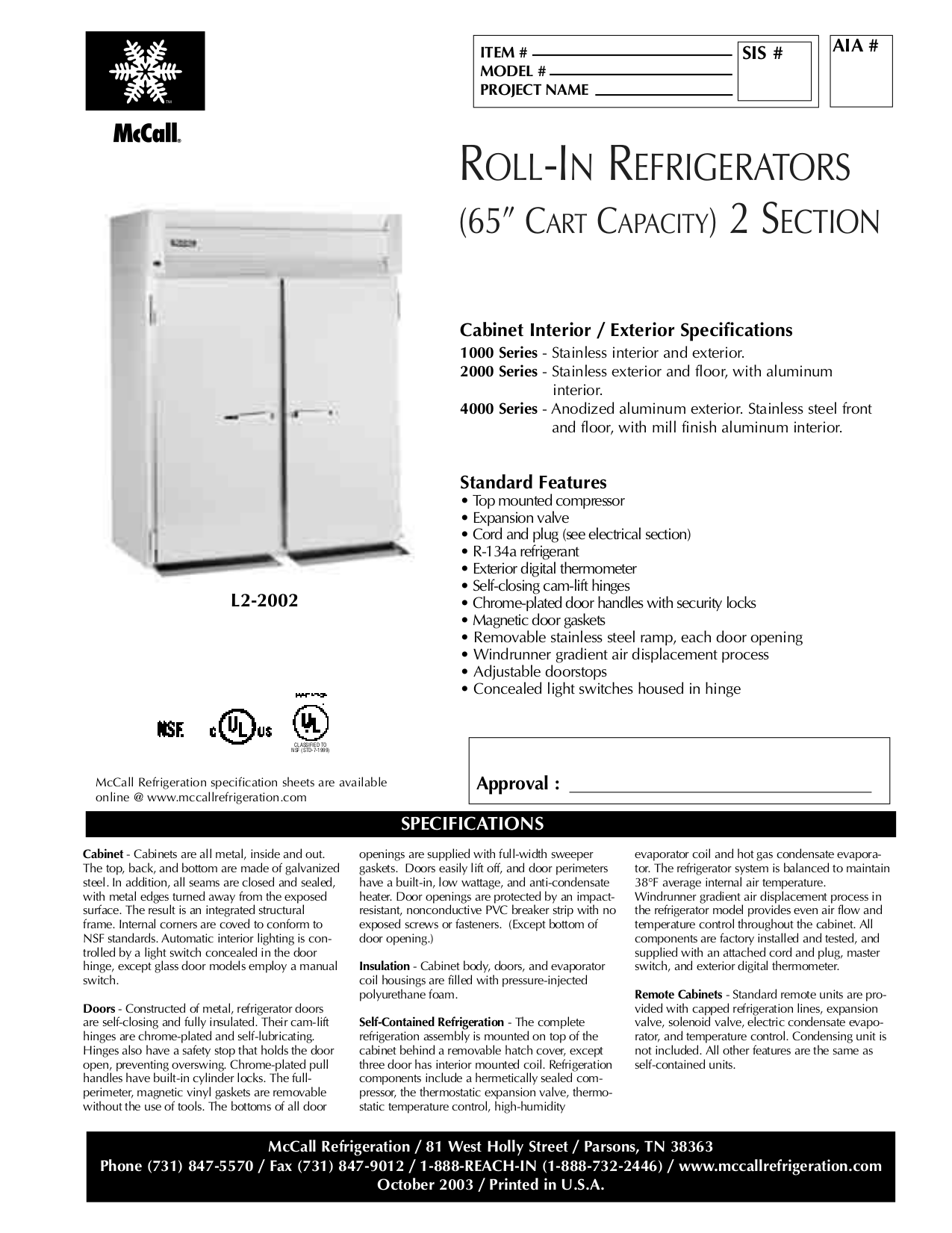pdf for McCall Refrigerator L2-2002 manual