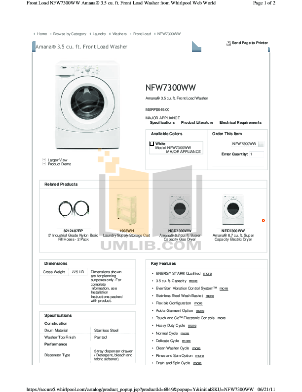 pdf for Amana Washer NFW7300W manual