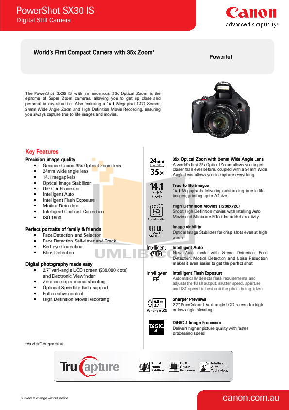 pdf for Canon Digital Camera Powershot SX30 IS manual