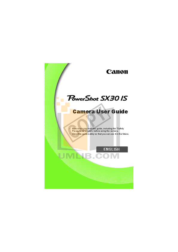 pdf for Canon Digital Camera Powershot SX30 IS manual