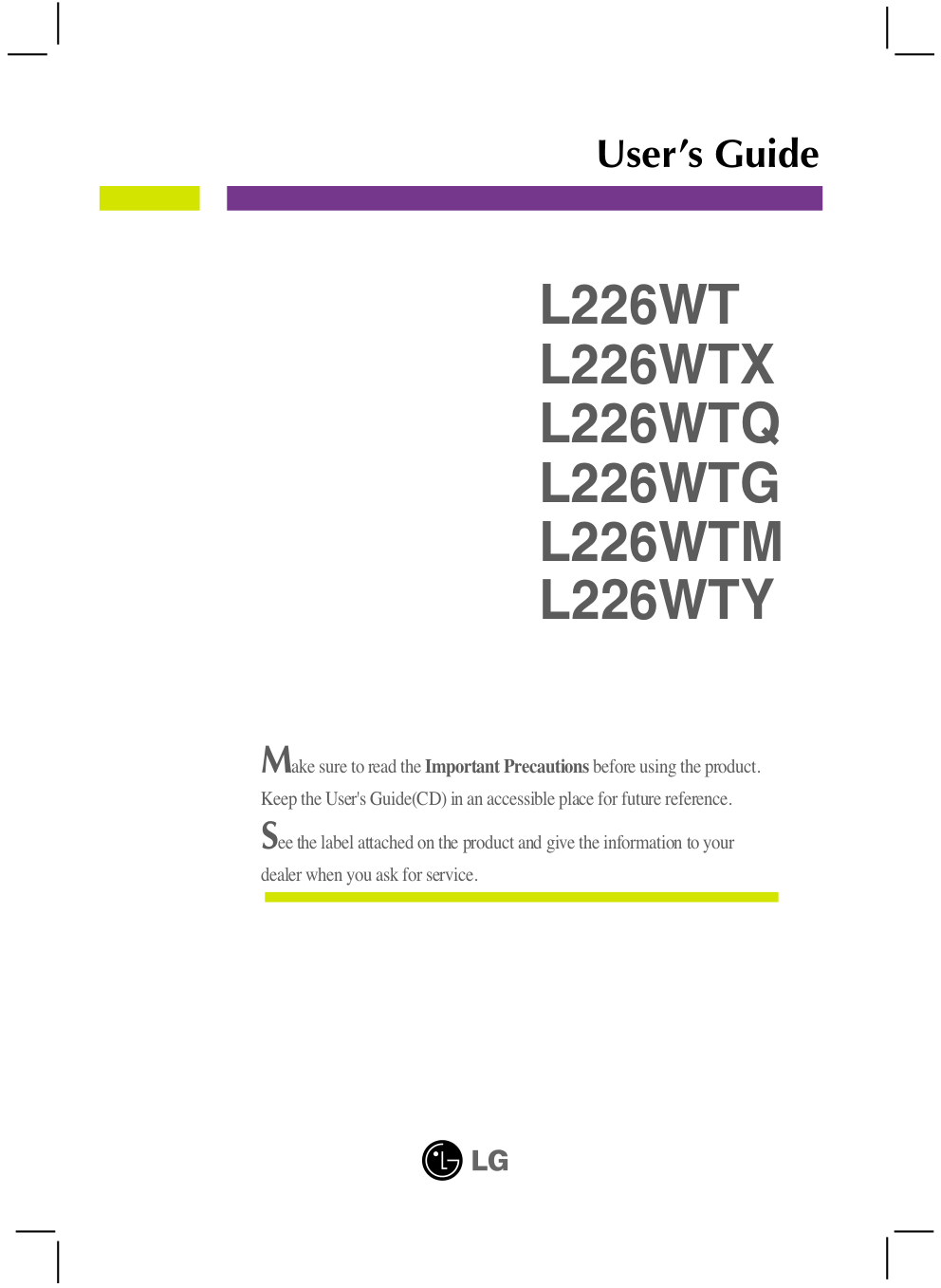 pdf for LG Monitor L226WT manual