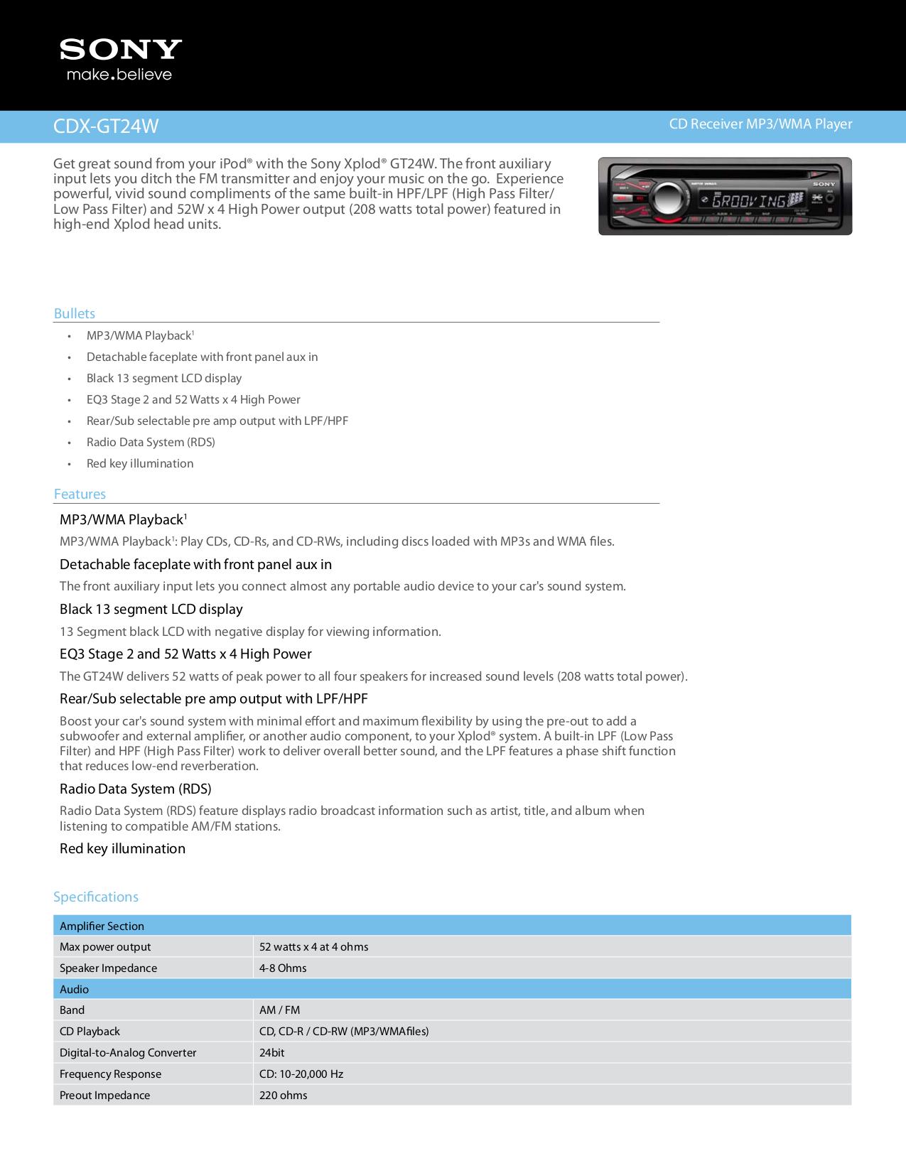 Sony Xplod Cdx Gt40uw Manual