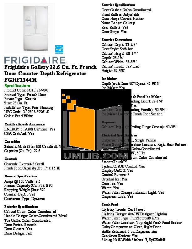 pdf for Frigidaire Refrigerator Gallery FGHF2344M manual