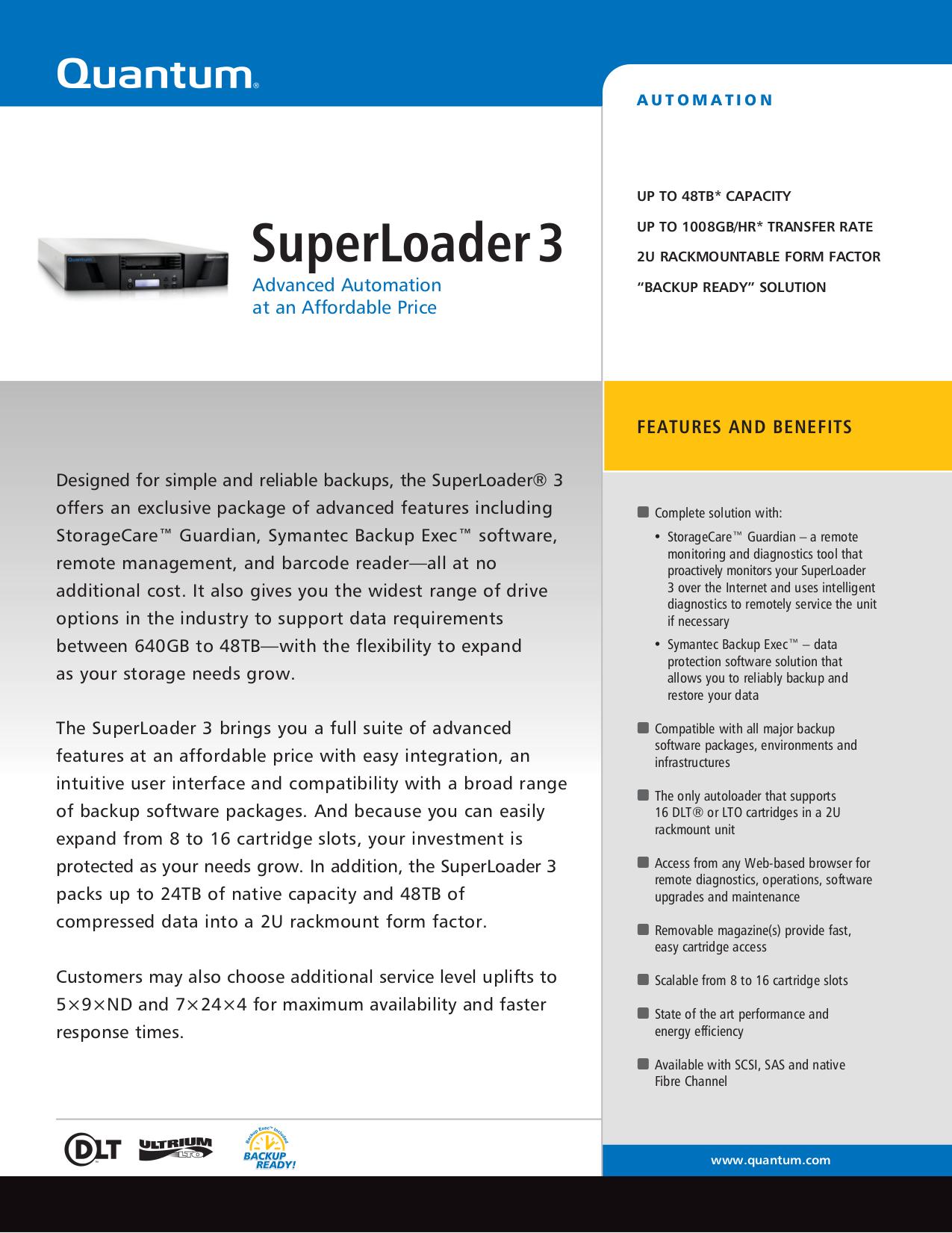 pdf for Quantum Storage SuperLoader DLT manual