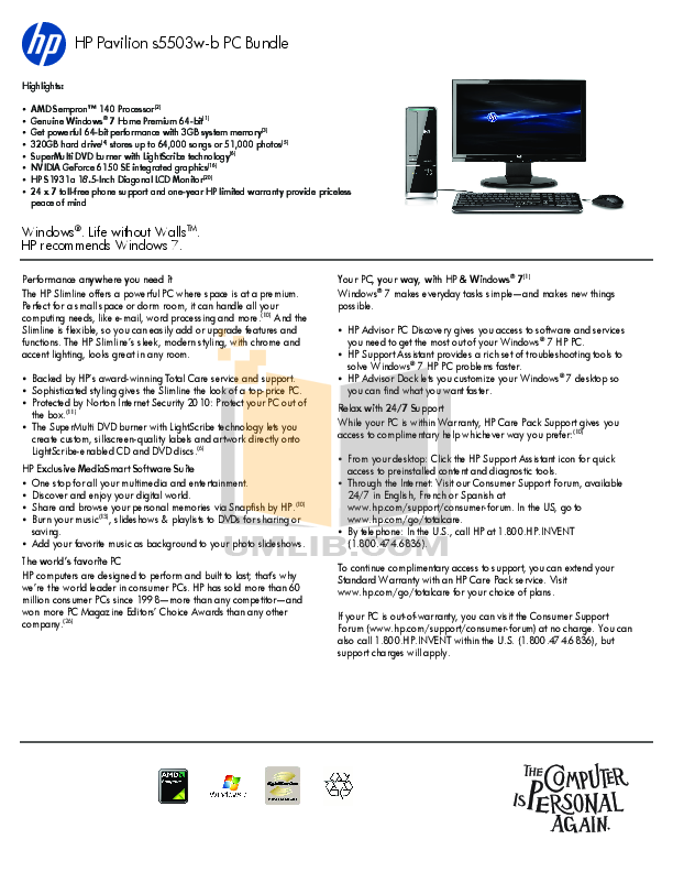 download free pdf for hp pavilion slimline s5503w desktop manual rh umlib com hp manual for hp 110-a04 hp manual for hp 110-a04