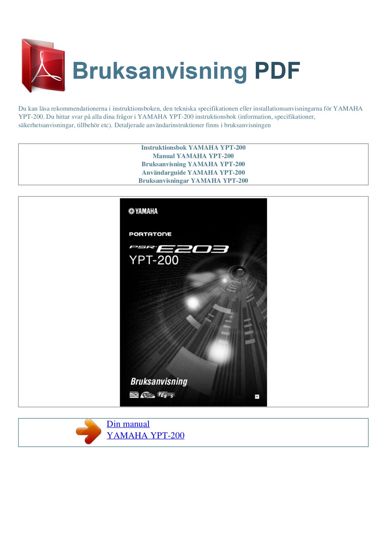 download free pdf for yamaha ypt 200 music keyboard manual. Black Bedroom Furniture Sets. Home Design Ideas