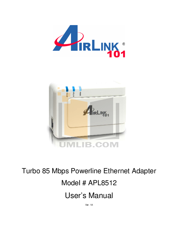 pdf for Airlink Other APL8512 Adapters manual