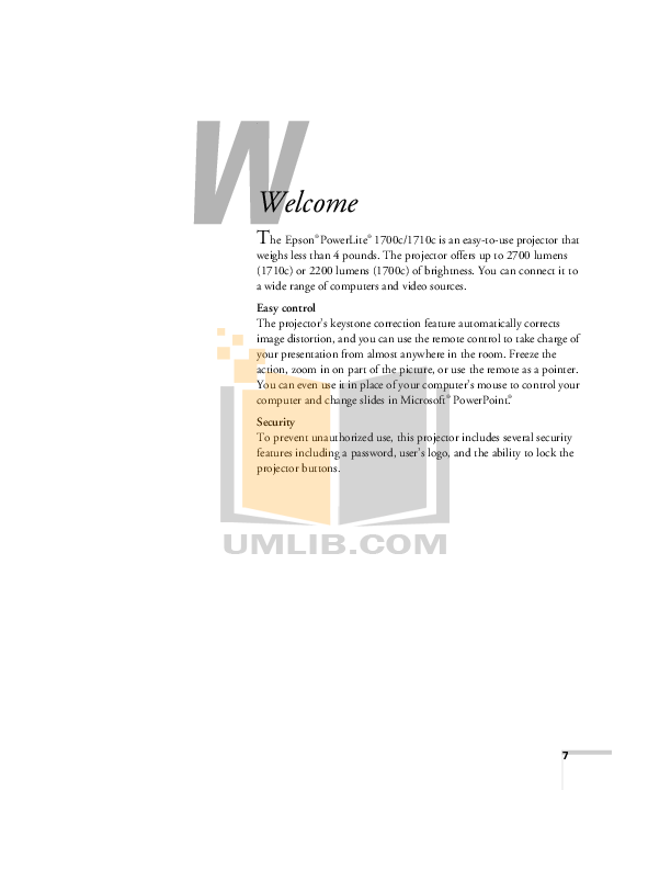 Epson Projector EMP-1710 pdf page preview