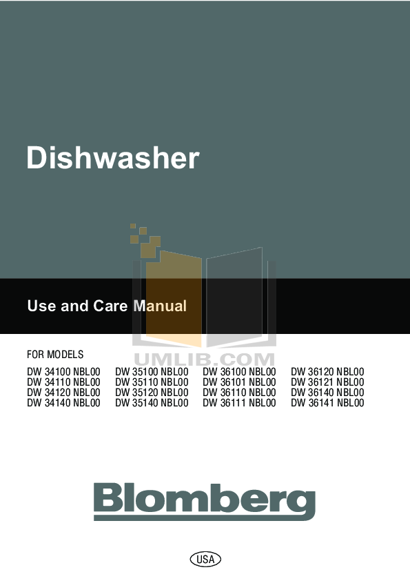 pdf for Blomberg Dishwasher DW36140 manual