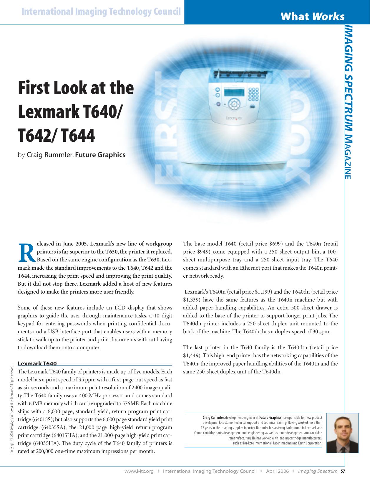 pdf for Lexmark Printer T642tn manual