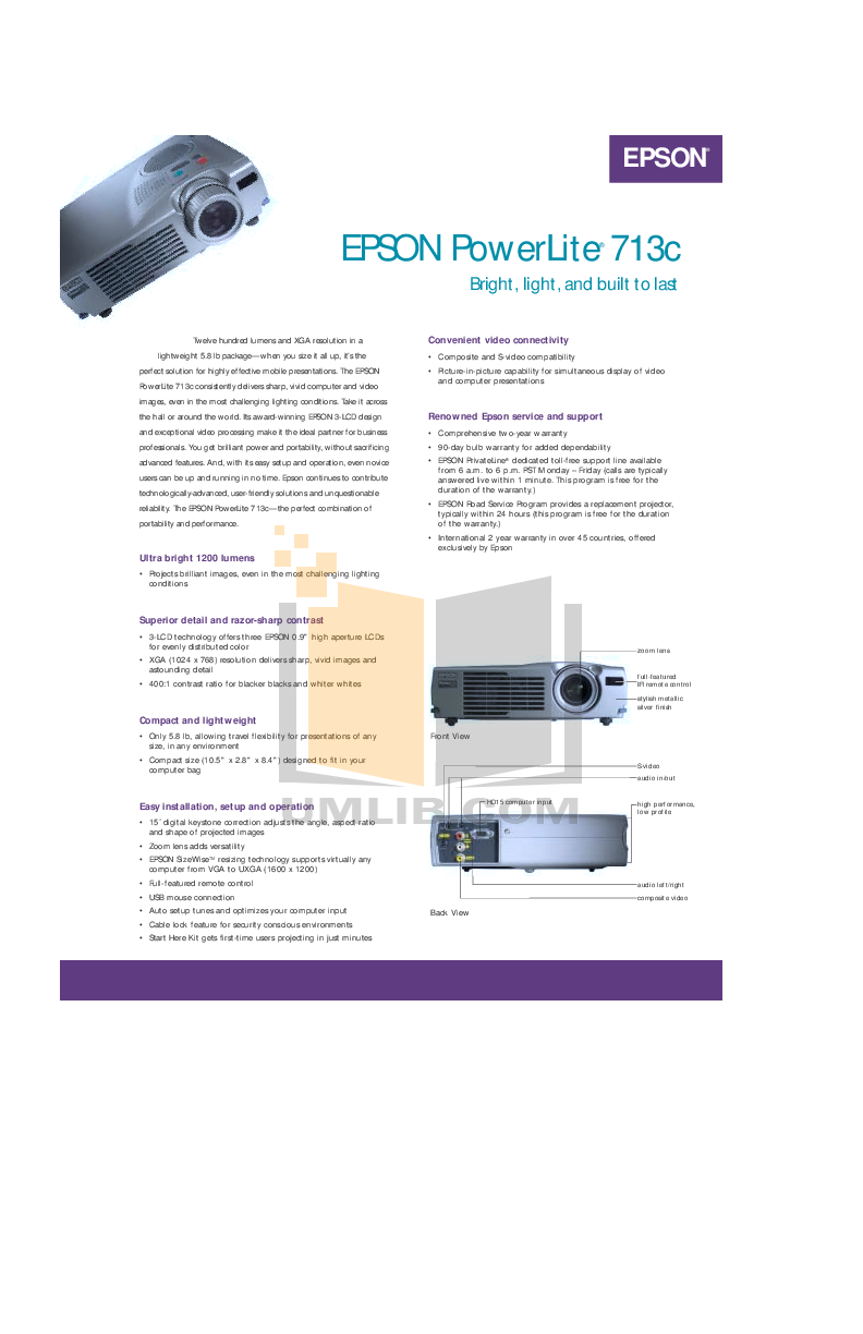 pdf for Epson Projector PowerLite 713c manual