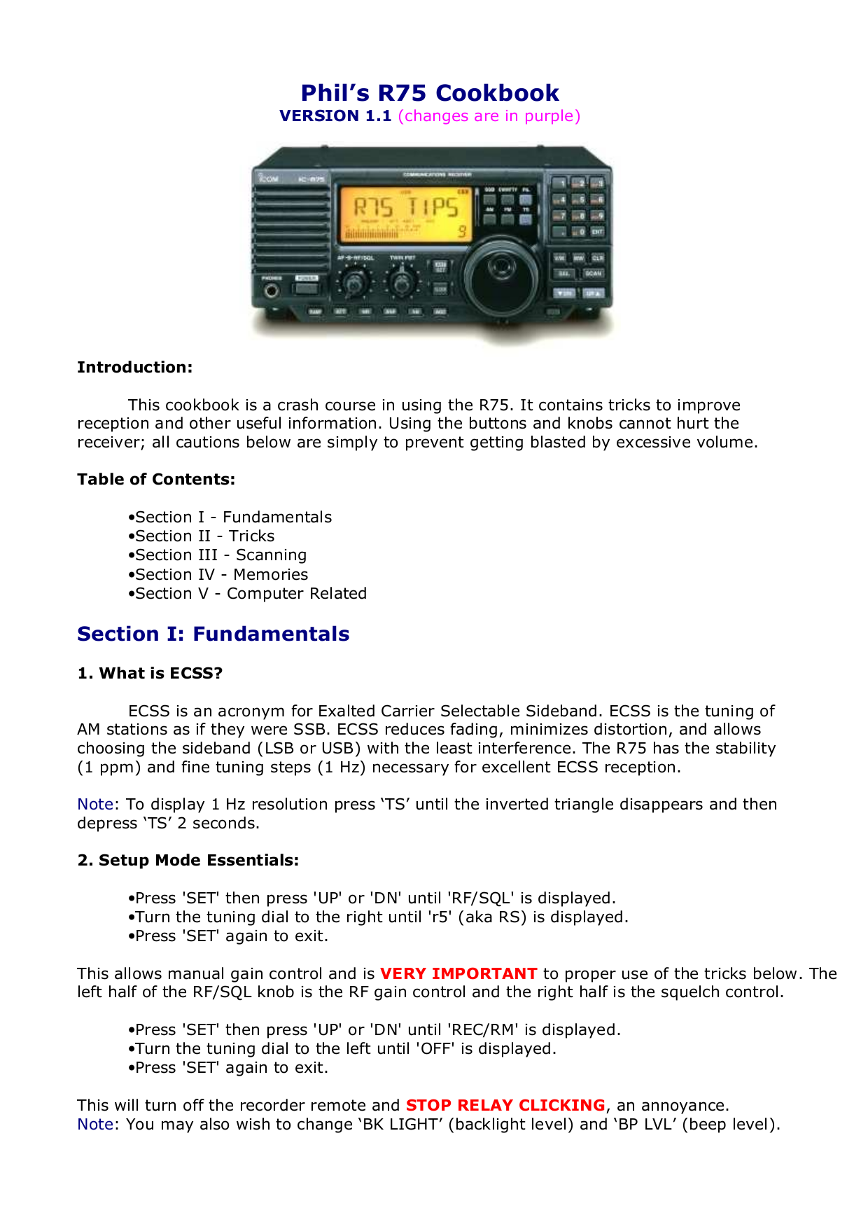 ICOM Remote Control RS-R75 pdf page preview