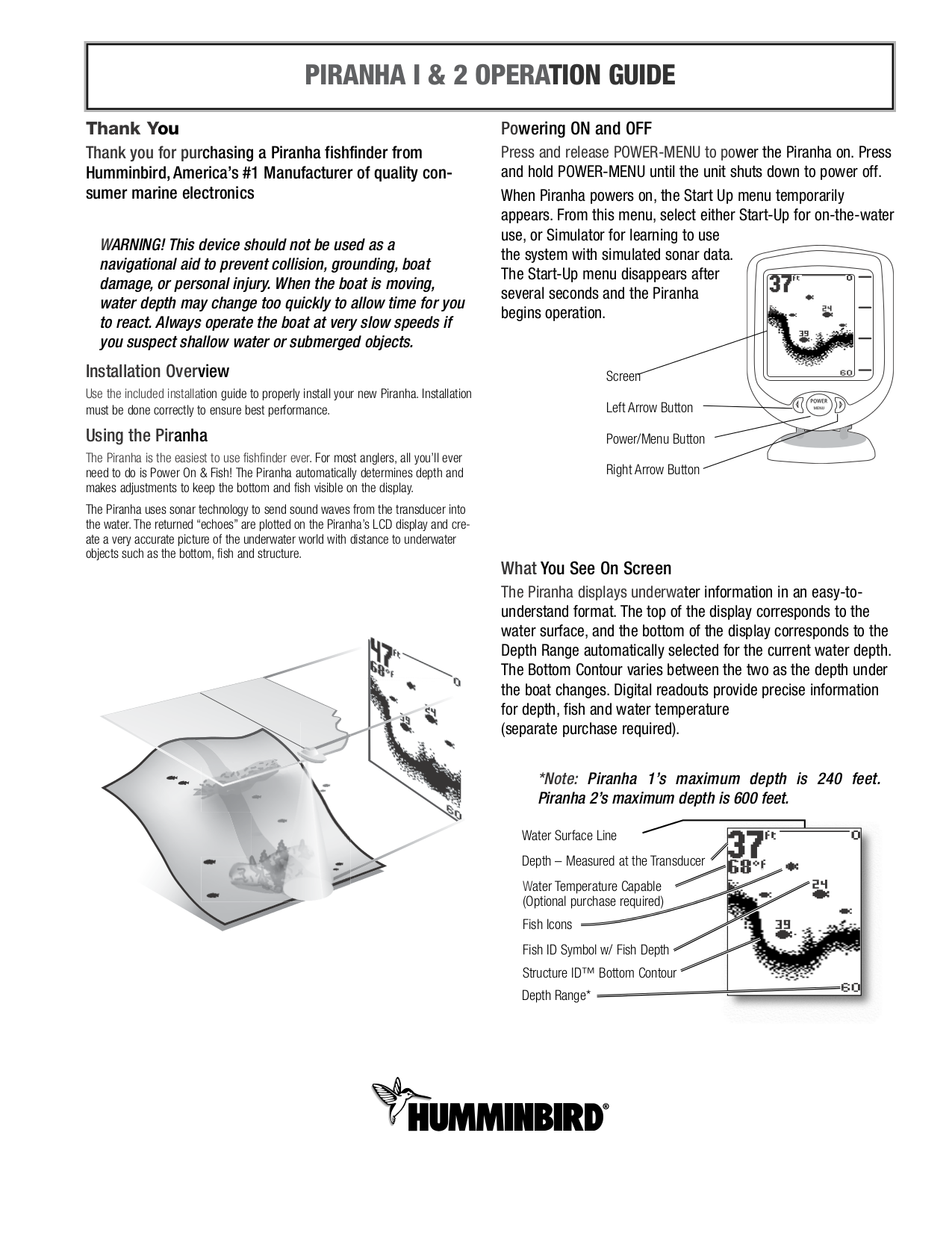 humminbird 170 fish finder manual
