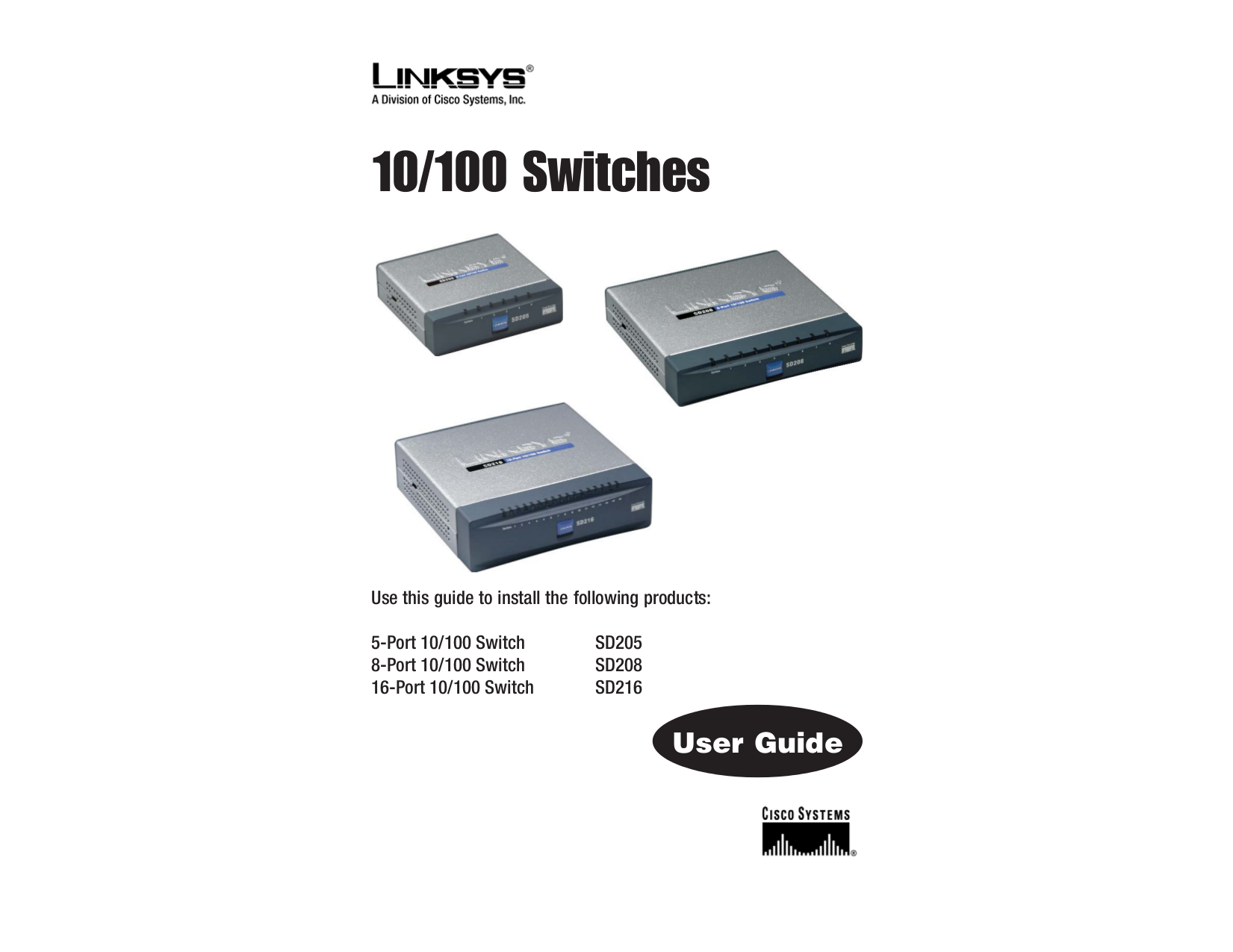 pdf for Linksys Switch SD205 manual