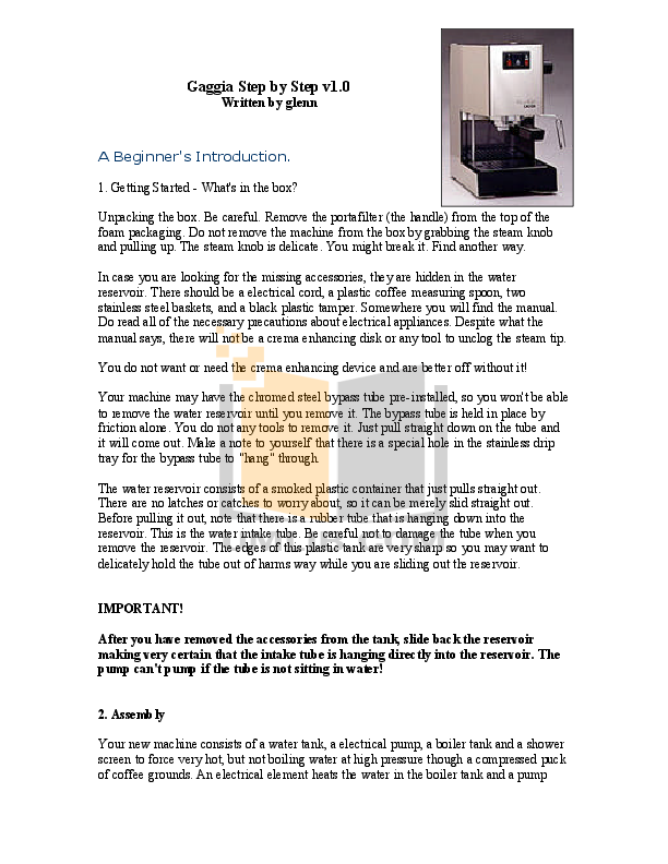 Download free pdf for Gaggia GE One Coffee Maker manual