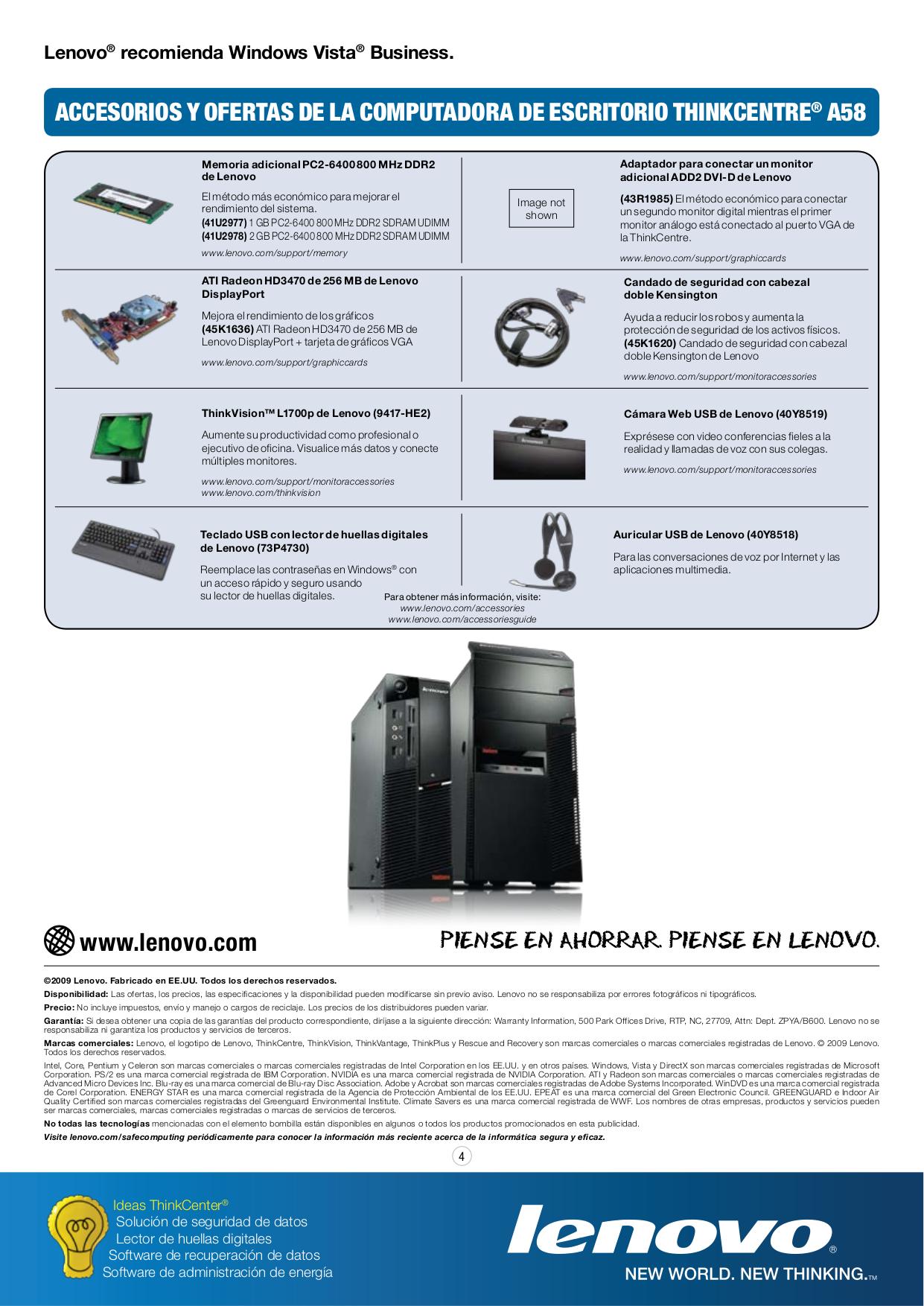 Lenovo Desktop ThinkCentre A58 7560 pdf page preview