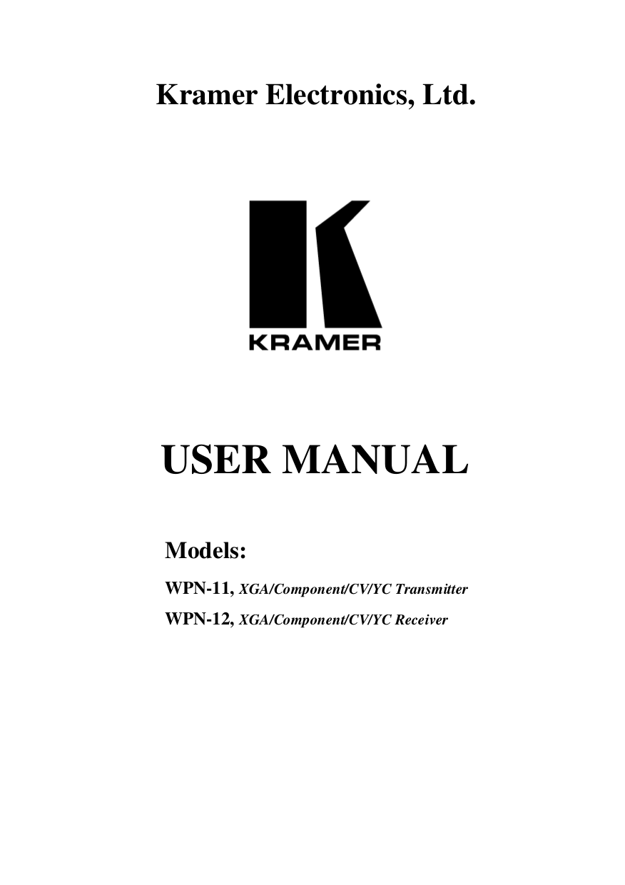 pdf for Kramer Other WPN-11 Transmitters manual