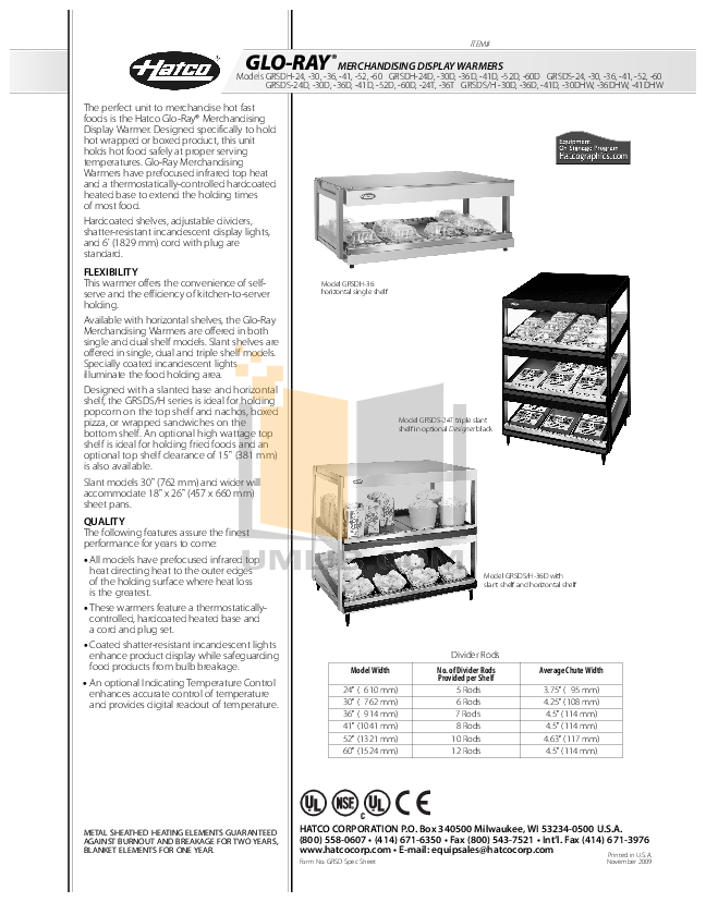 pdf for Hatco Other GRSDH-30 manual
