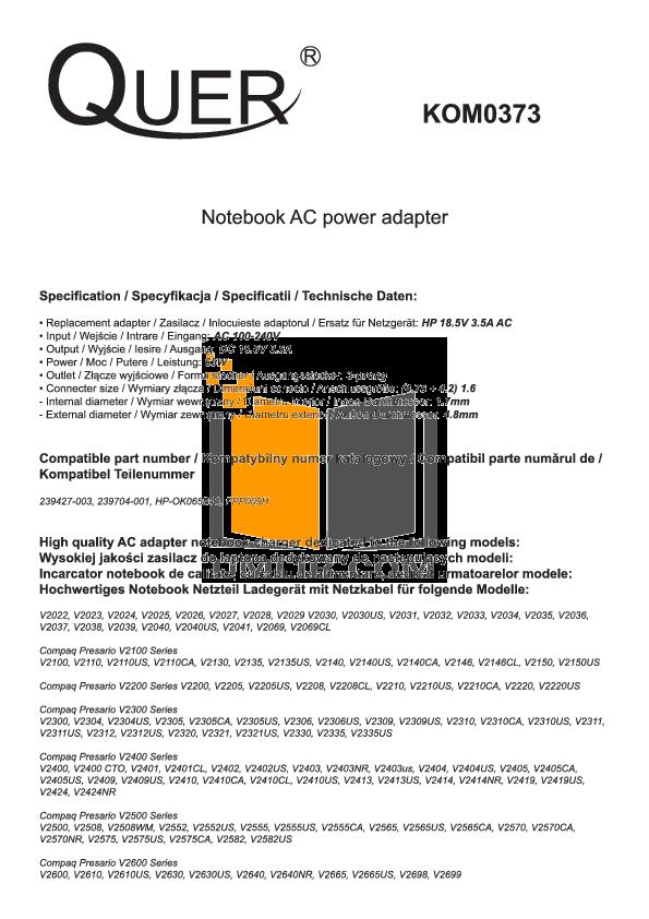 pdf for HP Laptop Compaq Presario,Presario V2220 manual