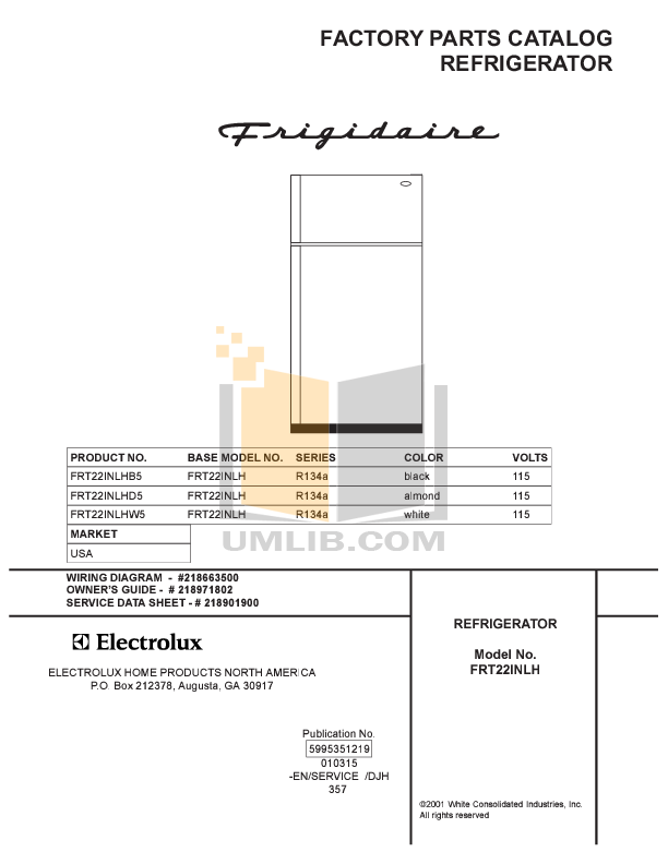 pdf for Frigidaire Refrigerator FRT22INLHD5 manual