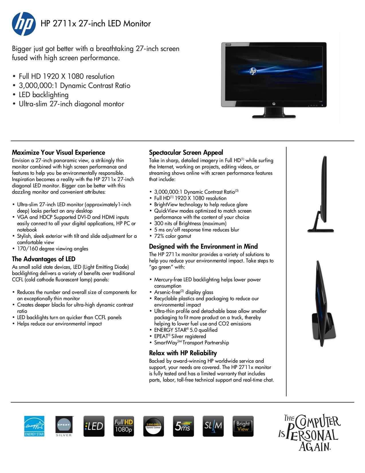 download free pdf for hp 2711x monitor manual rh umlib com hp 2711x user manual HP 2711X HDMI Issue