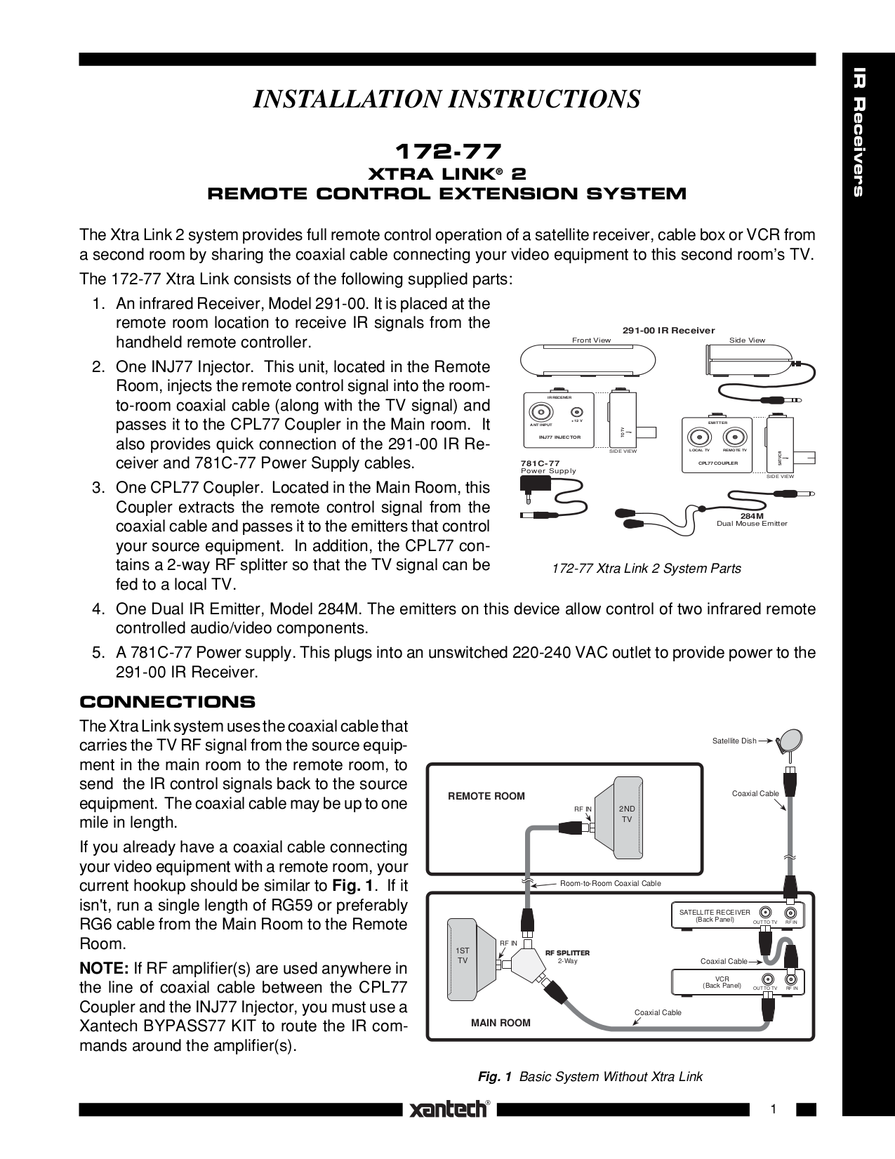 pdf for Xantech Other 284M Emitters manual