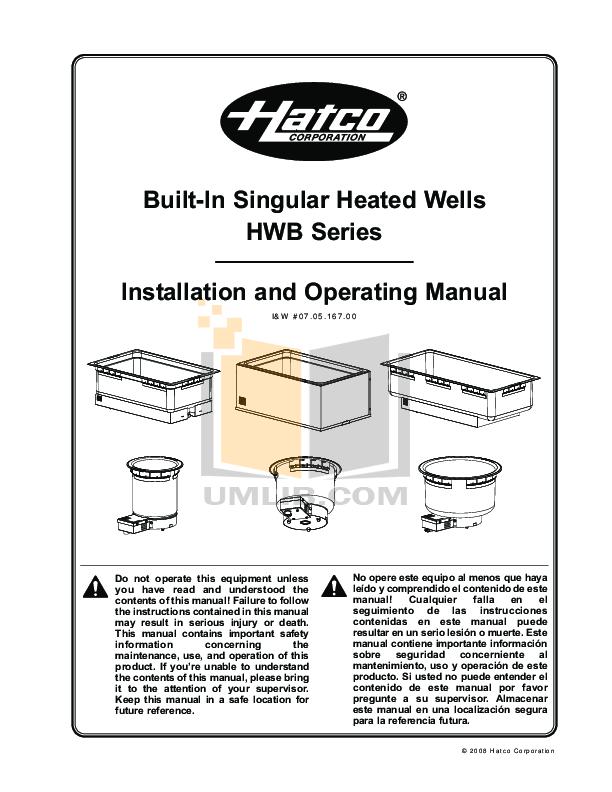 pdf for Hatco Other HWBLRT-43D manual