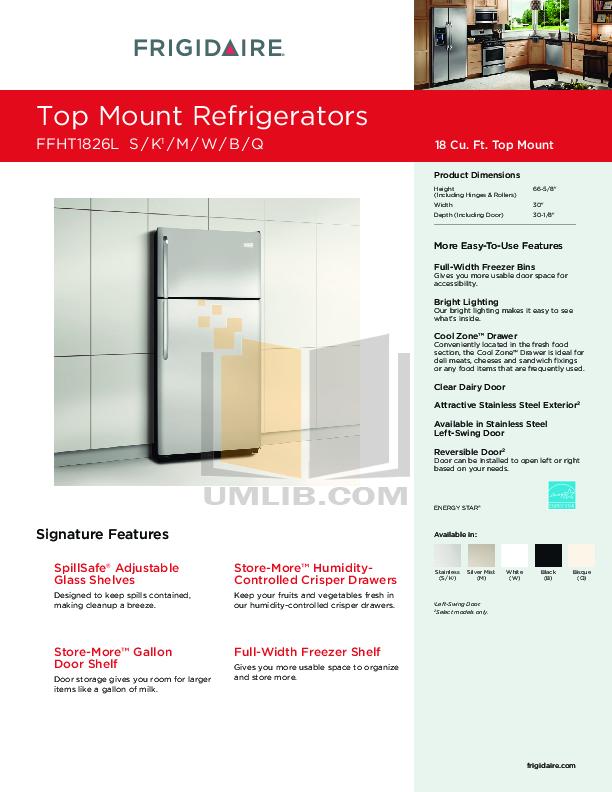 pdf for Frigidaire Refrigerator FFHT1826L manual