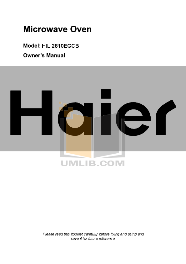 pdf for Haier Microwave TG 17G manual