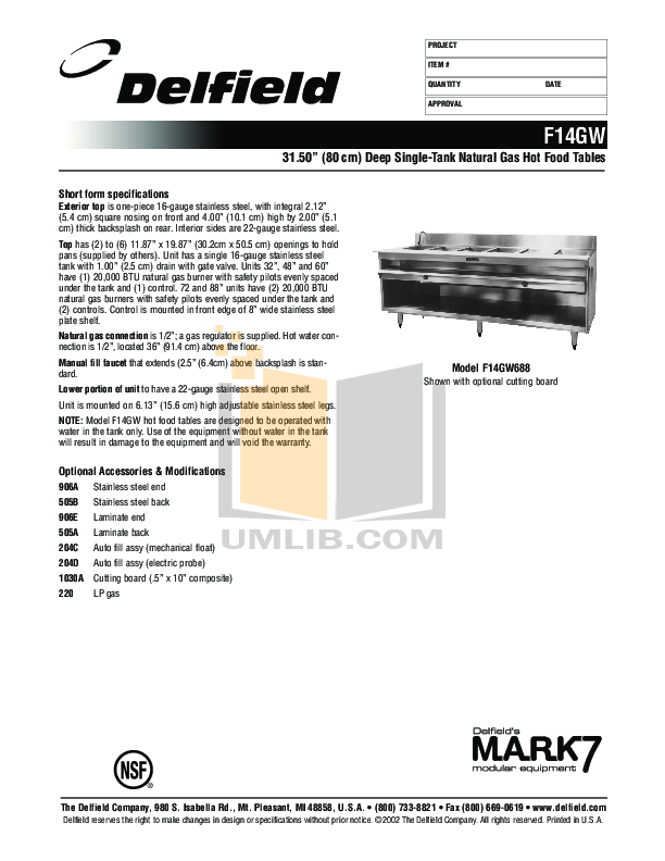 pdf for Delfield Other F14GW232 Hot Food Table manual