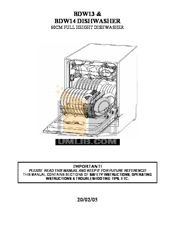 pdf for Baumatic Dishwasher BDW13 manual