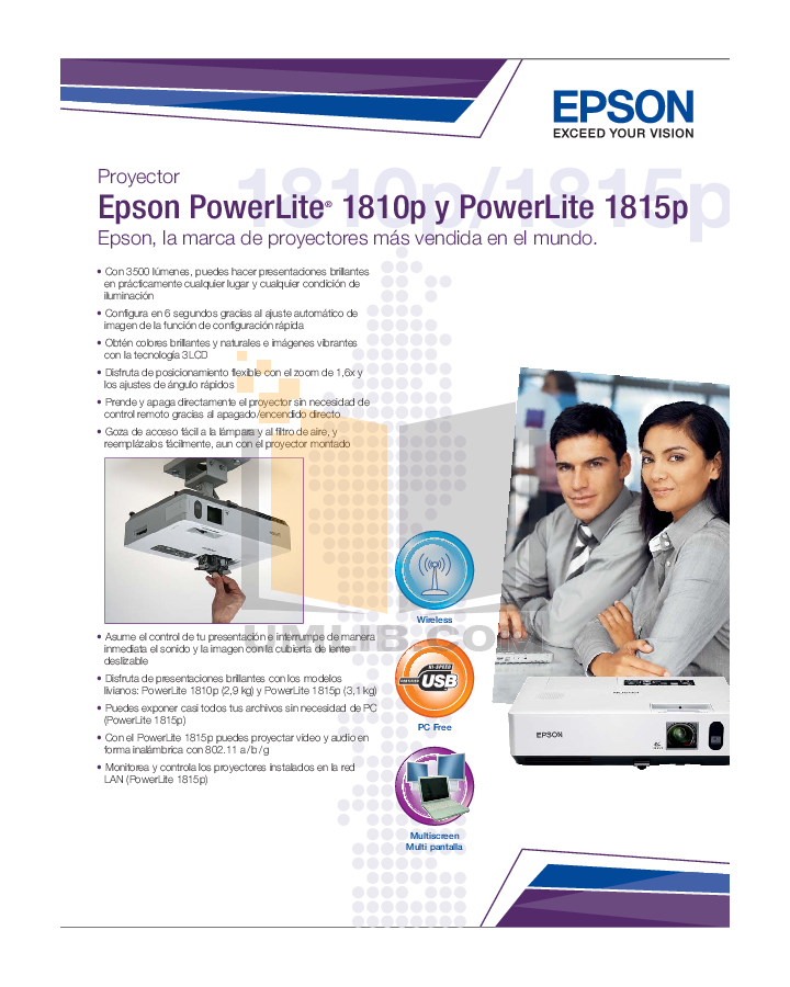 pdf for Epson Projector PowerLite 1815p manual