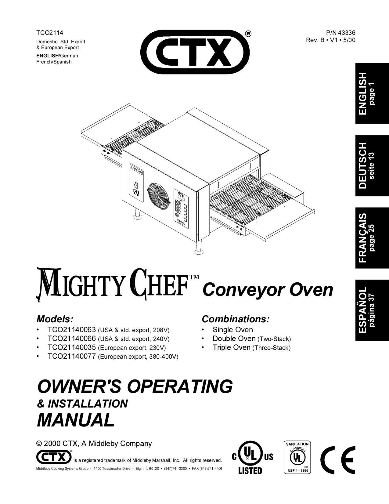pdf for Toastmaster Oven TCO2114 manual