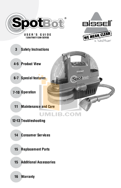 pdf for Bissell Vacuum 1200-B manual