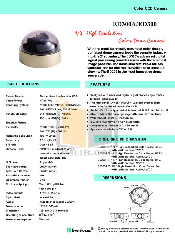 pdf for EverFocus Security Camera ED300 manual