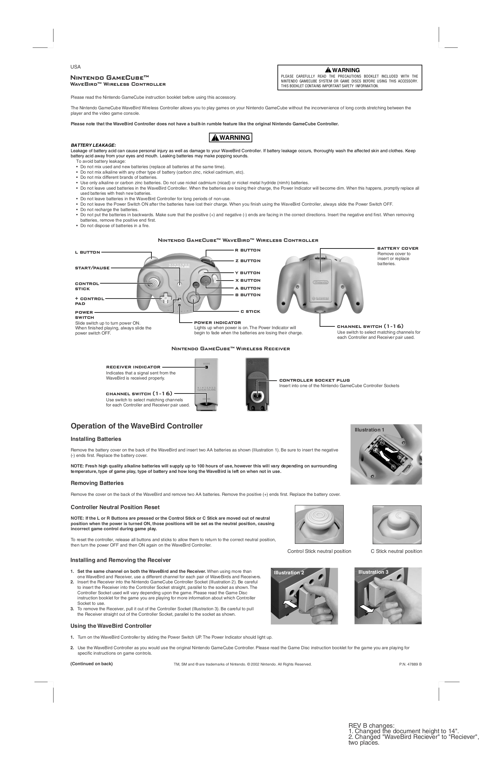pdf for Nintendo Game Console WaveBird Wireless Controller manual
