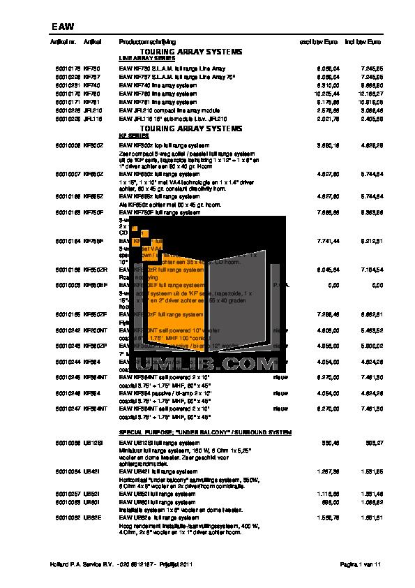 pdf for Eaw Speaker System Cinema CB153 manual