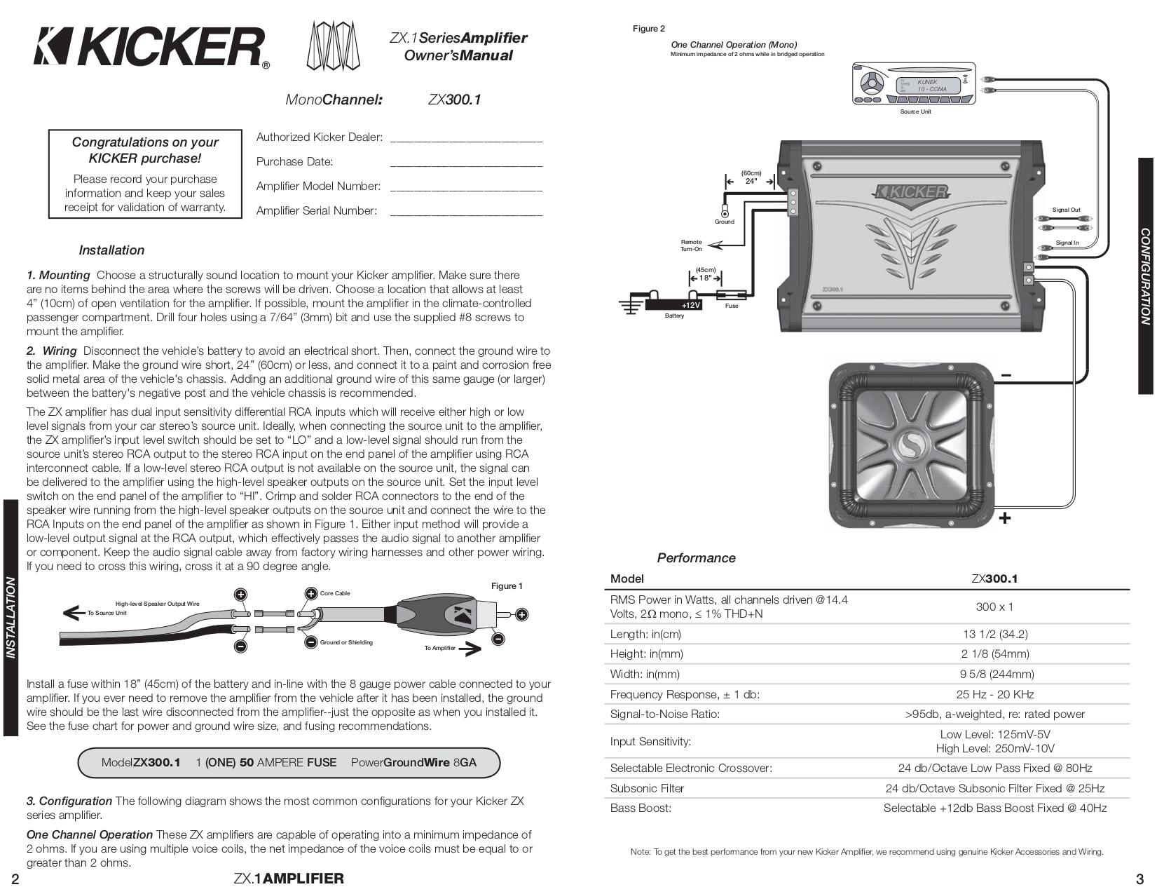 ... Kicker Car Amplifier ZX300.1 pdf page preview ...