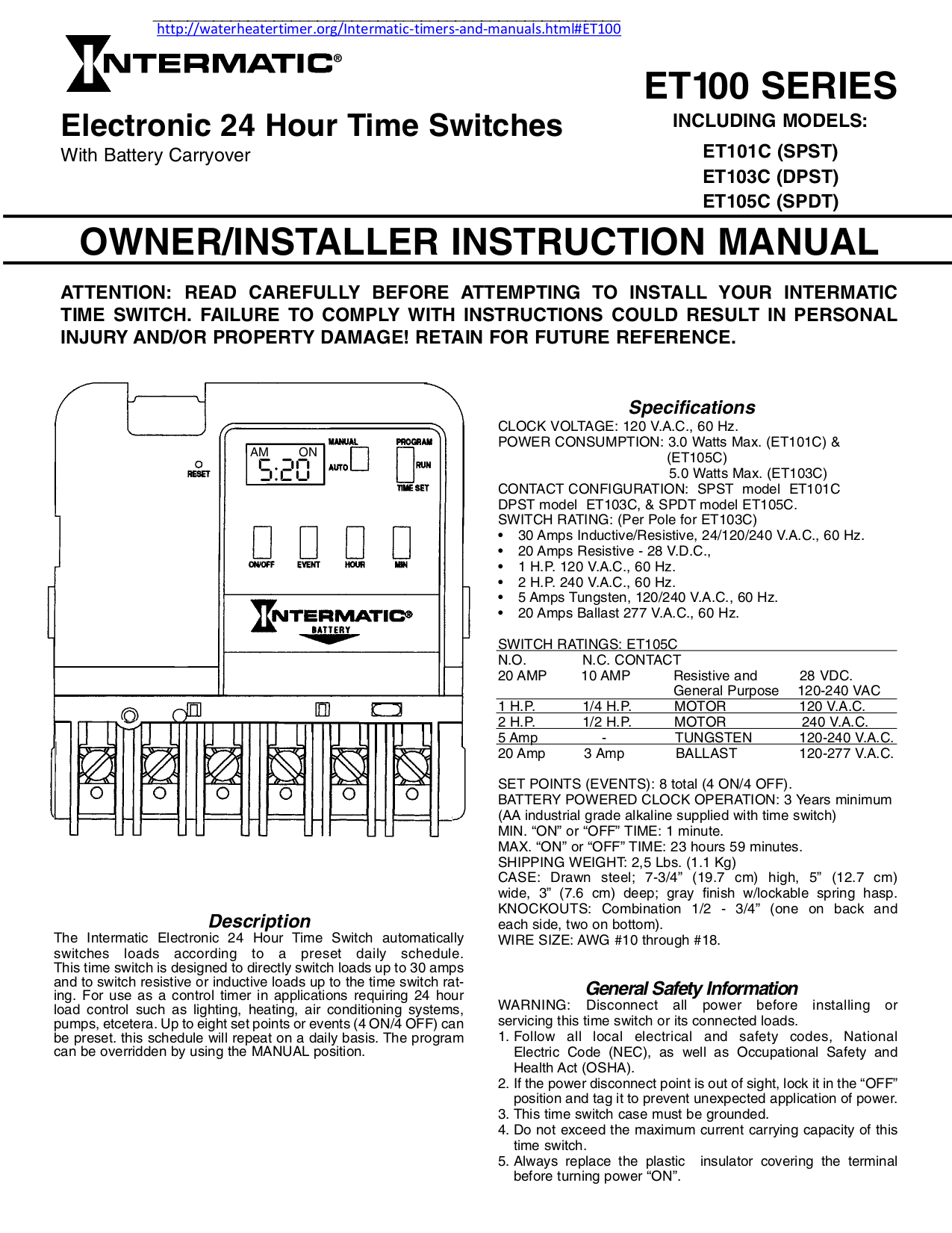 Download Free Pdf For Intermatic Et101c Time Switches Other Manual
