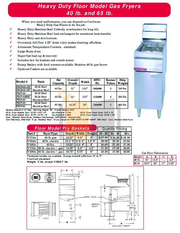 pdf for Cecilware Other EFS-65 Fryers manual