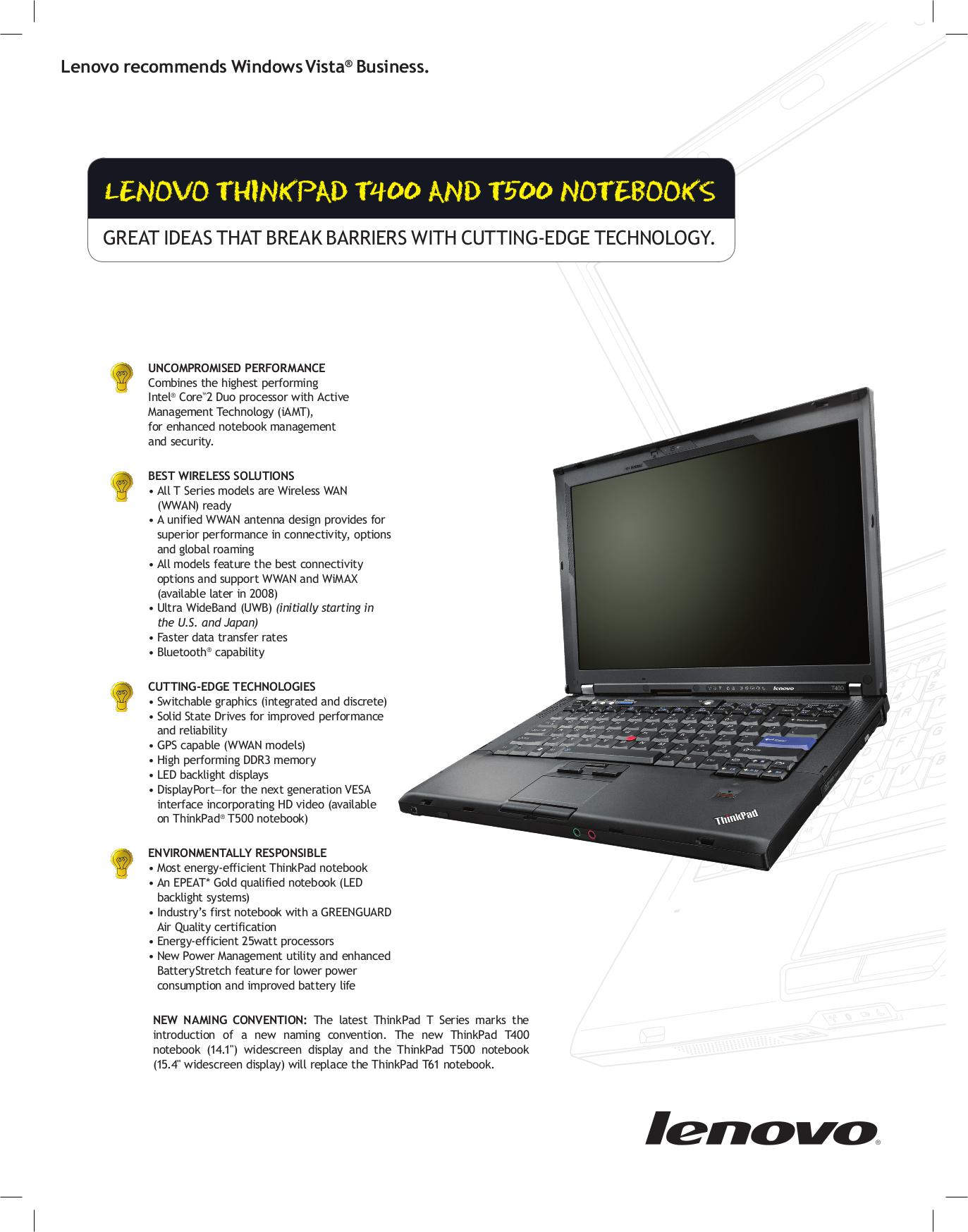 Download Free Pdf For Lenovo ThinkPad R500 2716 Laptop Manual