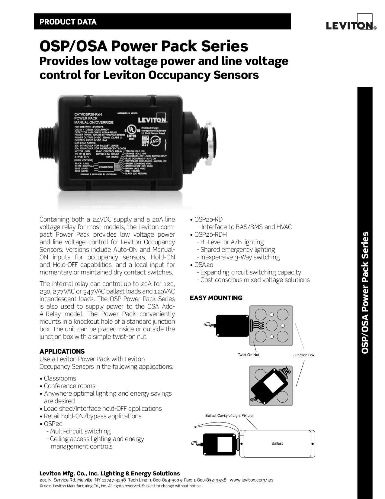 Download free pdf for Leviton OSC05-U Occupancy Sensor Other manual